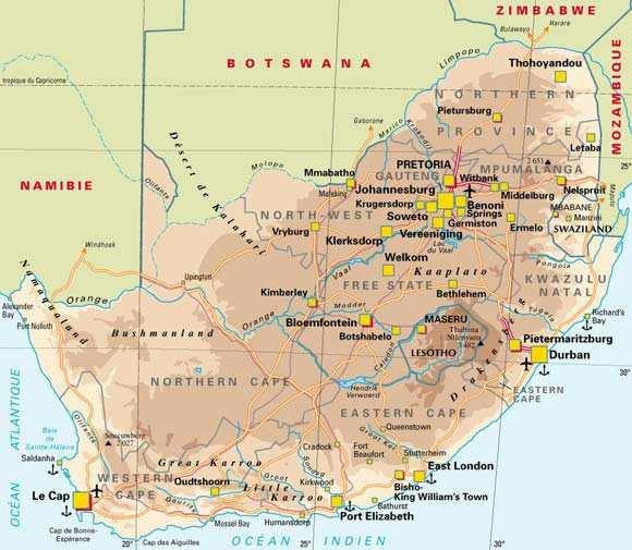 Carte Sud Afrique Du Sud.Carte De L Afrique Du Sud